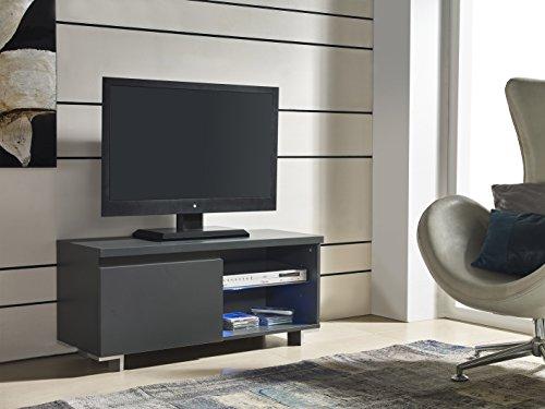 Meuble TV : 1 porte avec LED - couleur Anthracite