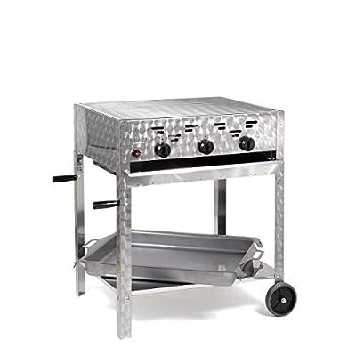 Gasgrill-Kombibräter 12 kW fahrbar mit Grillrost und Stahlpfanne 3-flammig Gasgrill Grill Gastrobräter Profigrill Verein