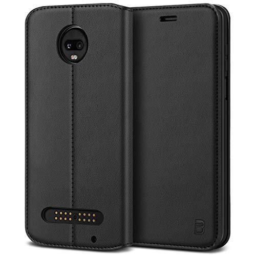 BEZ® Moto Z3 PlayHülle, Handyhülle Motorola Moto Z3 PlayTasche, Flip Case Cover Schutzhüllen aus Klappetui mit Kreditkartenhaltern, Ständer, Magnetverschluss, Schwarz