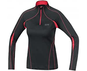 Gore Running Wear Women's Essential 2.0 Lady Long Sleeve Shirt - Black/Coral Red, 40 UK