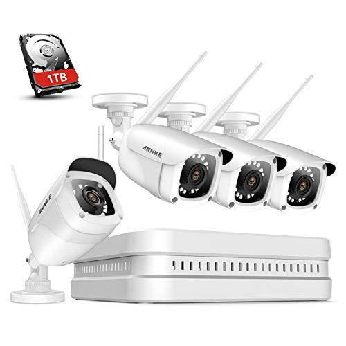 ANNKE 8CH 1080P WLAN Überwachungskamera Set mit 4X 2MP WiFi Wasserfeste Kamera und Wireless NVR 1TB HDD Überwachungssystem,30M IR Nachtsicht für Haus, Innen, Außen Sicherheit,Plug & Play System