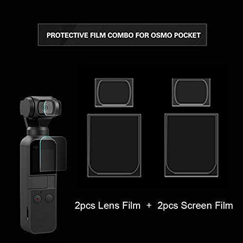 WQING Glas-Displayschutzfolie Gehärteter Folienfilm kompatibel für DJI OSMO Pocket-Handheld-Gimbal-Kamera (Lens Film * 2 + Screen Film * 2)