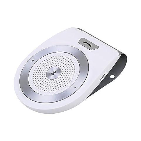 Andven Kit Bluetooth 4.1 pour voiture sur Pare-soleil avec Allumage Automatique par capteur de mouvement intégré, Support du GPS, Musique, Kit mains libres pour Téléphone [Soutien français]