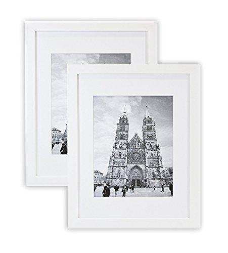 Golden State Art, Set 2, 11x 14Weiß Holz Foto Rahmen mit Weiß Matte für 8x 10Bilder, & Echtglas