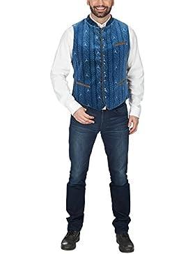 Oktoberfest Trachten Weste Herren mit Muster gefüttert 3 Taschen blau