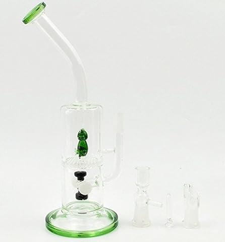 26cm en verre d'eau tuyaux Ice Bong en verre Vert grenouille et nid d'abeille Percolateur Bongs