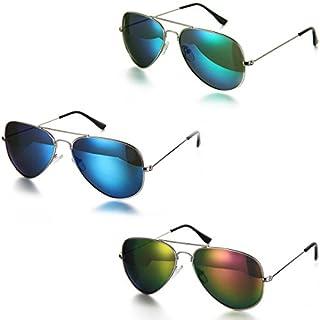 Aroncent Unisex Sonnenbrille, Retro Strahlenschutz Polarisierte Sonnenbrille, Vollrand Sonnenbrille, 3 Farben: Fuchsie, Blau, Grün