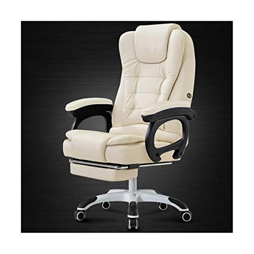 WANGZRY Home Computer Schreibtisch Sessel Chef Büro Stuhl Mit Fußstütze Armlehne Liege PU Leder Einstellbare Dreh Lift Massage Stuhl,White