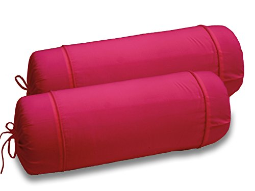 AURAVE Solid Plain Premium Cotton 2 Piece Bolster Cover set - Pink