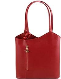 Tuscany Leather - Patty - Sac en cuir Saffiano convertible en sac à dos - Rouge