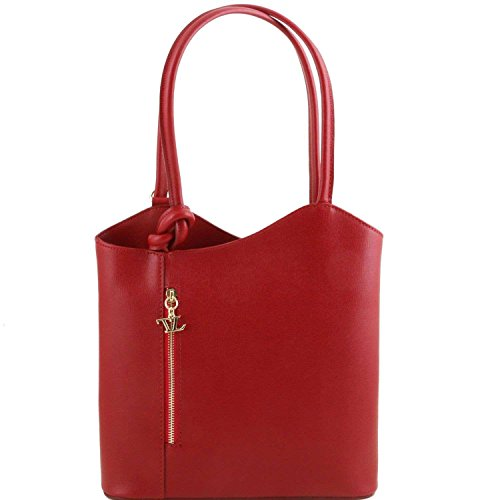 Tuscany Leather - Patty - Sac en cuir Saffiano convertible en sac à dos - Rouge