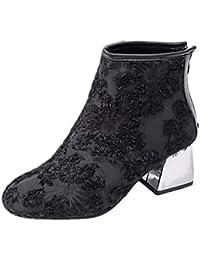 Zapatillas de Mujer de BaZhaHei, Gamuza Gruesa con Cremallera Puntiaguda Botas Botines de Mujer de Moda Mujeres Punta Estrecha Suede Zapatos de cuña de tacón Boots Bota de Cremallera