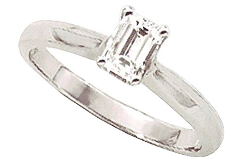 1 carati di diamanti taglio smeraldo di fidanzamento solitario (14ct White Gold)