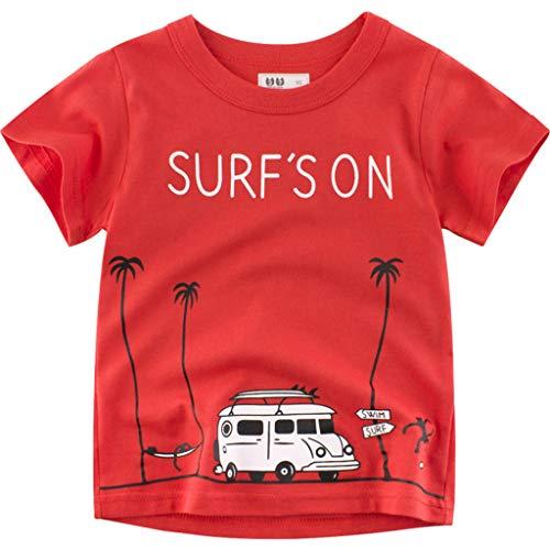 BURFLY Kleinkind Baby Kind Junge Baumwolle solide Polo t-Shirt Hemd Kleidung Boy Cartoon Druck Kurzarm ()