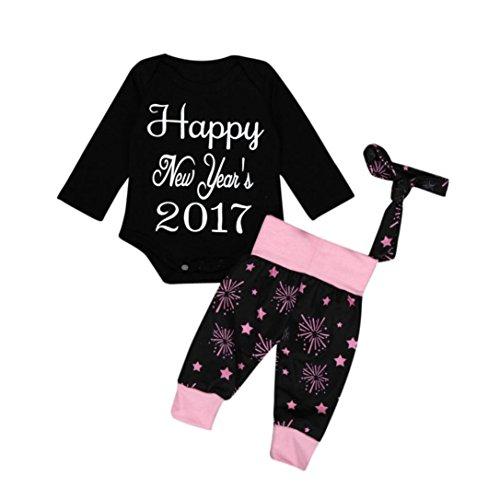 Hunpta 1SET Säugling Baby Junge Mädchen Kleidung Strampler Hose Leggings 4PCS Silvester Outfits (90CM, Schwarz) (90 Thema Party Kostüme)