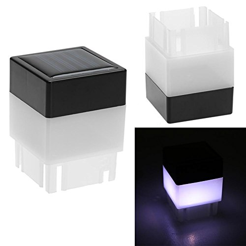 LED-Solarbetriebene Zaunpfosten für den Außenbereich, wasserdicht, kabellos, Sensor-Lichter, Garten, Wege, Hof, Dekoration, quadratisch, Zaunlichter (weiß, warmweiß) weiß