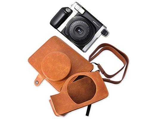DSstyles Retro PU Leder Kameratasche Ledertasche Schutztasche Schutzhülle Kamerahülle Gehäuse Taschen mit Schultergurt für Fujifilm Instax WIDE 300 Kamera - Braun