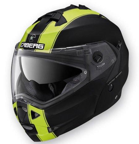 Casco Helmet Helm CABERG DUKE DOPPIA OMOLOGAZIONE apribile LEGEND (M, NERO OPACO / GIALLO FLUO - MATT BLACK / YELLOW FLUO)