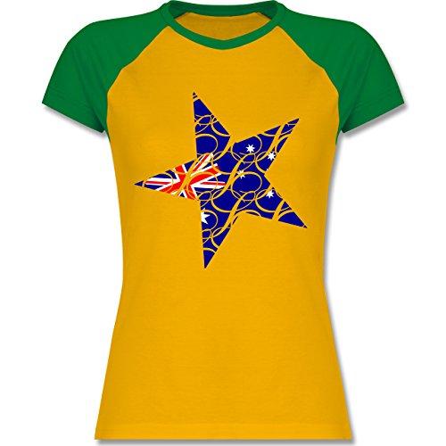 Shirtracer Länder - Australien Stern - Zweifarbiges Baseballshirt/Raglan T-Shirt für Damen Gelb/Grün