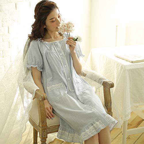 Underwear hall Japanische süße süße Nadelstreifen Nachthemd Frühling und Sommer Modelle Baumwolle Kurzarm Pyjamas Baumwolle Gaze Mädchen Haus Rock Frauen, XL, blaue Streifen -