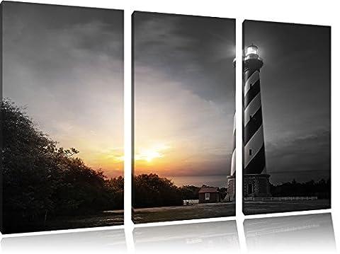 Cape Hatteras Leuchttum B&W Detail 3-Teiler Leinwandbild 120x80 Bild auf Leinwand, XXL riesige Bilder fertig gerahmt mit Keilrahmen, Kunstdruck auf Wandbild mit Rahmen, gänstiger als Gemälde oder Ölbild, kein Poster oder Plakat