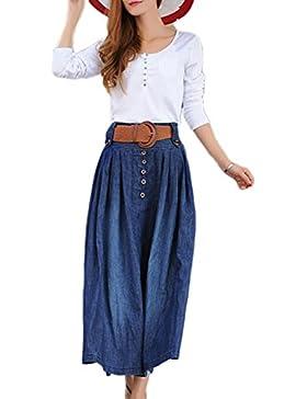 La Mujer Casual Plus Size Vintage Maxi Falda Con Cinturón Y Bolsillos Plisado