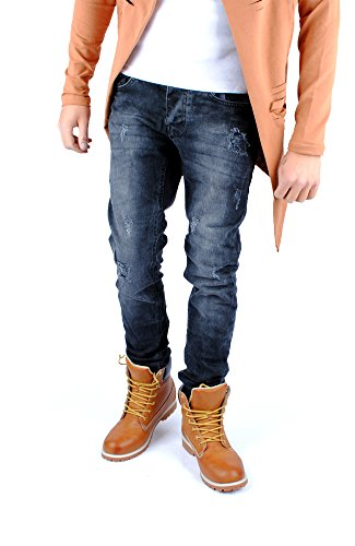 FiveSix Herren Slim-Fit Used-Look Denim Destroyed-Look Regular-Fit Biker Zerrissen Jeans Hose Grau-3
