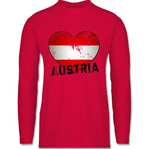 Shirtracer Länder - Austria Herz Vintage - Herren Langarmshirt Rot