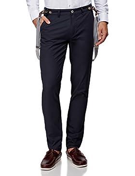 oodji Ultra Hombre Pantalones de Algodón con Tirantes