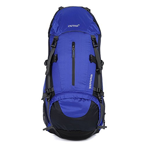 OUTAD Trekking-Rucksack 60Liter (55+ 5l) mit Regenabdeckung, Handgepäck für die Kabine, robust, wasserdicht, ergonomisch, blau