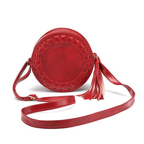 Frauen Crossbody Taschen, JOSEKO PU Leder Umhängetasche Reißverschluss Schultertasche Runde Handy Geldbörse mit Quaste Rot Runde