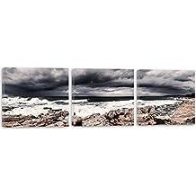 Feeby Frames, Cuadro en lienzo - 3 partes - Panorámico, Cuadro impresión, Cuadro decoración, Canvas 90x30 cm, AGUA, ROCAS, MAR, PAISAJE, VISTA, NUBES, BLANCO Y NEGRO