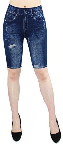 dy_mode Damen Capri Leggings Sommer Jeggings Kurze Leggings Frauen in Jeans Optik - 2LG100 (2LG102-Destroyed)