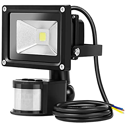 GUO LED Motion Sensor Flood Light, 10W Daylight White, 6500K, 1200lm, Waterproof Security Lights with PIR for Home,Garden,Garage [Energy Class A+]
