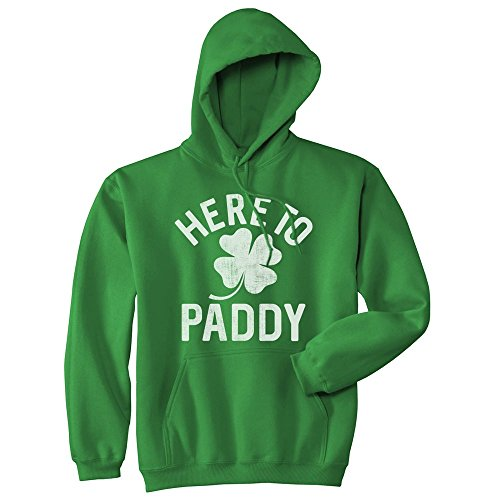 Crazy Dog Tshirts - Unisex Hoodie Here to Paddy Hooded Sweatshirt Funny St Patricks Day Party Shamrock -XXL - Herren - ()