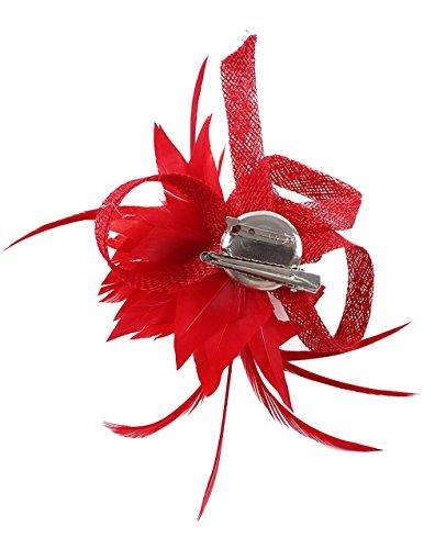 GEMVIE Damen Vintage Clip Hut Haarclip Haarband mit Federn Fascinator Rot Rote Hüte Vintage Hut