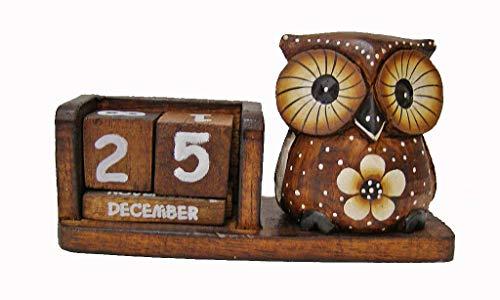 Cornwall Art Prints Flower Owl calendario perpetuo, in legno da scrivania, nuovo, stile shabby chic
