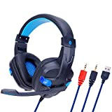 WQGNMJZ Gaming-Headset, SY860MV, LED-Beleuchtungs-Headset, Spiel E-Sport-Headset für PS4, PC, Earmuffs Kopfhörer, Dolby Surround,Blue