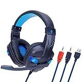 WQGNMJZ Gaming-Headset, SY860MV, LED-Beleuchtungs-Headset, Spiel E-Sport-Headset für PS4, PC, Earmuffs Kopfhörer, Dolby Surround,Blue