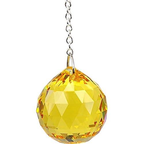 Boule Feng shui Cristal à facettes - coloris topaze - 3 cm