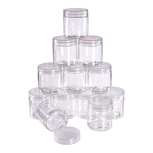 BENECREAT 12 PACK 70ml Leere durchsichtigen Kunststoff Slime Storage Favor Glaser Weithals Kunststoffbehalter fur SuBigkeiten Zylinder, Display, Lagerung und Prasentation (5,4 x 4,8 cm)