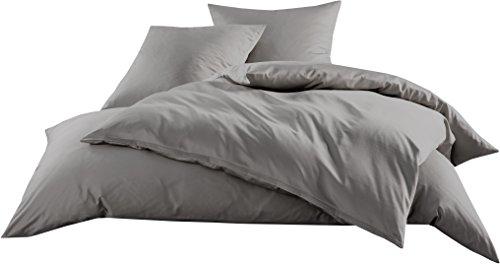 Passende Bettwäsche (Mako-Satin Baumwollsatin Bettwäsche Uni einfarbig zum Kombinieren (Kissenbezug 80 cm x 80 cm, Dunkelgrau) viele Farben & Größen)