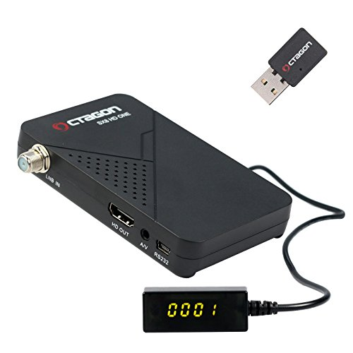 Octagon SX8 Mini CA HD Full HD digitaler Multistream Satelliten-Receiver Mini Wlan (HDTV, DVB-S2, HDMI, 2x USB 2.0, 1080p, Youtube, IPTV, IR Extender) [vorprogrammiert für Astra & Türksat] – schwarz