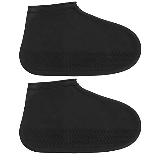 CWeep Silicone Waterproof Rain Boots Cover, Thick Wear-Resistant Washable Reusable Outdoor Multi-Functional Waterproof Shoe Cover. Wear (Black, L) Black Multi Suede Schuhe