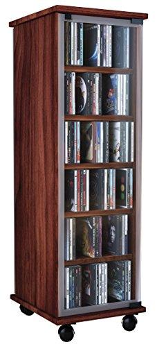 VCM 30032 CD/DVD-Turm Valenza drehbar für 300 CDs Kern-Nussbaum (Moderne Nussbaum-schrank)