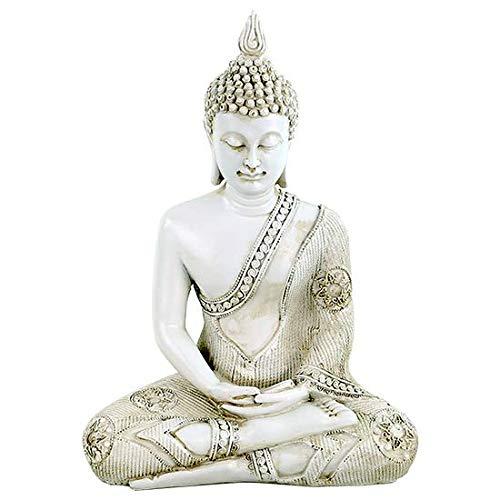 Phoenix Statua di Buddha in meditazione Thailanda 29 cm poliresina bianco