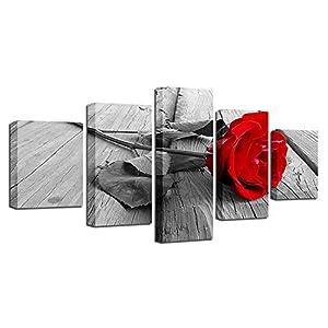 BESTYAN Leinwand Wand Kunst 5 Panel Rote Rose Blume auf Schwarz Weiß Foto Hintergrund Blumenbild für Hauptdekor mit…