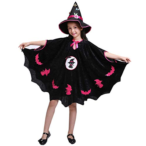 Sarg Kostüm Kinder - Halloween Mädchen Hexe Hut Hut Mantel Cape Cosplay Party Leistung Kostüm,Height140cm