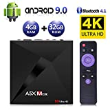 Android 9.0 TV Box, Android Box 4 GB RAM 32 GB ROM, ATETION MAX RK3328 Quad Core 64 bit Smart TV Box, Wi-Fi-Dual 2.4G, BT 4.1, Box TV UHD 4K TV, USB 3.0