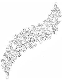 Accesorios para el cabello peine flexible novia joyería onda 3 peinar de flores cristal